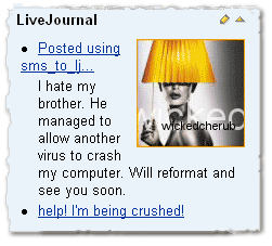 LiveJournal diary as it's seen on the homepage created by Surfpack Personal